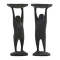 Oisin kelly 1915  1981 pair of cast iron candlesticks waterford ireland stamped made in republic of ireland w 7 x 2 34