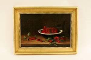 19th C Continental Still Life wCherries Oil Sig