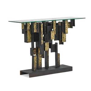 James bearden b 1964 lunar ledge console table cathedral series des moines ia 2014 torchcut welded and blackened steel fused bronze glass enameling etched signature james bearden 33 1