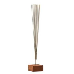 Harry bertoia 1915  1978 experimental spray sculpture pennsylvania 1955 stainless steel wire mahogany signed 17 12 x 3 sq complete with certificate of authenticity from val bertoia
