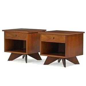 George nakashima 1905  1990 widdicomb pair of origins nightstands grand rapids mi 1950s walnut brass remnants of upholstery labels 21 12 x 22 x 21