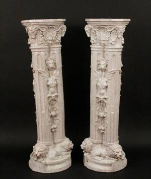 Pair of Italian White Glazed Pedestals