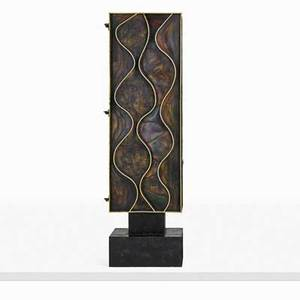 Paul evans 1931  1987 paul evans studio rare wavy front cabinet new hope pa 1971 welded and polychromed steel painted wood 23 carat gold leaf unmarked 84 x 25 x 21 12