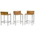 Florian asche b 1963 philipp mainzer e15 three grace stools 1990s walnut stainless steel all branded and numbered 30 x 17 x 18