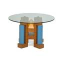 Michael graves b 1934 dining table usa 1980s maple reversepainted plastic painted wood brass glass unmarked 29 12 x 48 dia