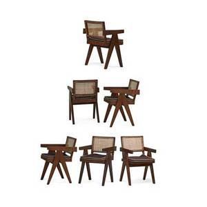 Pierre jeanneret 1896  1967 set of six vleg armchairs from the chandigarh administrative buildings franceindia 1950s teak upholstery cane 32 12 x 20 x 20 12 literature le corbusier