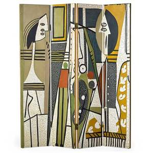 After pablo picasso fourpanel roomdivider artist and model late 1950s polychromed composite eggshell unmarked each panel 72 x 16