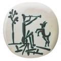 Pablo picasso 1881  1973 madoura glazed earthenware plate edition of 450 flute player and goat joueur de flute et chvre france 1956 stamped madoura plein feu empreinte originale de pica