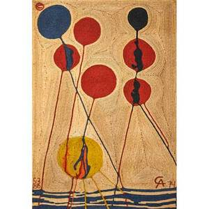After alexander calder bon art jute fiber wall hanging balloons nicaragua 1974 embroidered ca 74 3100 cloth label 85 x 56