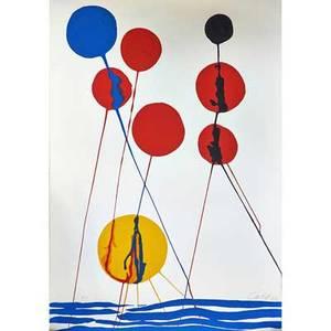 Alexander calder 18981976 lithograph balloons pencil signed calder and ea sheet 40 x 28