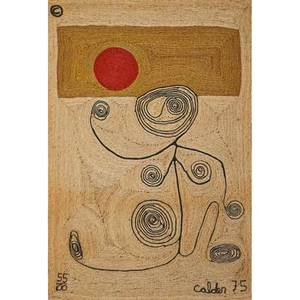 After alexander calder bon art jute fiber tapestry of a lady with swirls nicaragua 1975 embroidered ca 74 55100 84 x 56