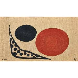 After alexander calder 18981976 bon art maguey fiber wall hanging moon nicaragua 1975 embroidered ca 75 2100 cloth tag 48 12 x 610 12