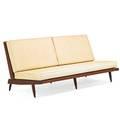 George nakashima 1905  1990 nakashima studios cushion sofa new hope pa mid 1950s walnut upholstery unmarked 31 x 72 x 34 provenance available letter of authentication from mira nakash