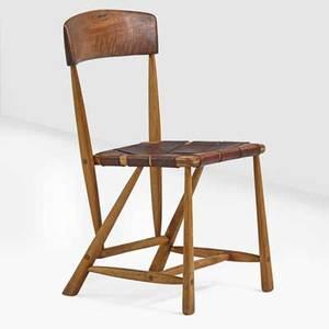 Wharton esherick 1887  1970 side chair paoli pa 1967 ash walnut saddle leather signed and dated 32 14 x 18 x 19 provenance original owner purchased from the artist