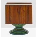 Phil powell 1919  2008 rotating cabinet new hope pa 1960s carved walnut painted wood woven cane unmarked 40 x 35 x 30
