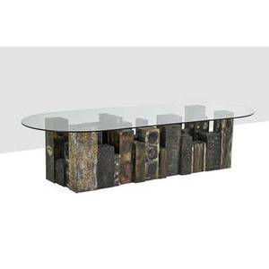 Paul evans 1931  1987 paul evans studio important skyline dining table new hope pa 1970 welded polychromed steel bronze composite glass welded paul evans 1970 29 12 x 120 x 50 prove