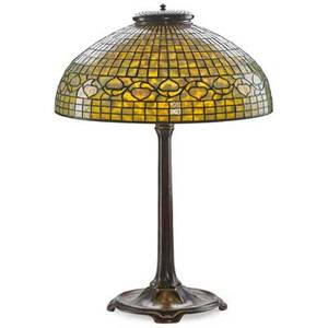 Tiffany studios fine table lamp with acorn shade new york 1900s leaded slag glass patinated bronze four sockets base stamped tiffany studios new york 531 shade with metal tag tiffany studios