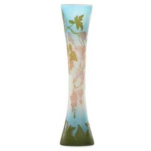 Galle tall cameo glass vase with bleeding hearts france signed galle on body 22 x 5