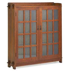 L  jg stickley doubledoor bookcase fayetteville ny ca 1912 the work of decal 55 x 51 x 12