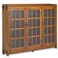 L  jg stickley tripledoor bookcase fayetteville ny ca 1905 unmarked 55 x 72 x 12