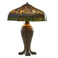 Handel table lamp with tropical overlay shade and basketweave base meriden ct ca 1910 patinated metal slag glass three sockets cloth label to base metal tag to shade 26 x 20