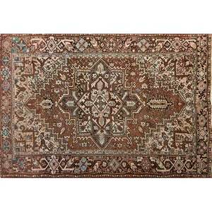 Persian heriz handknotted wool carpet geometric pattern in shades of mauve and brown ca 1970 unmarked 8 1 x 10 1