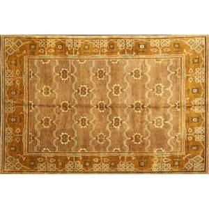 Arts  crafts style contemporary handknotted wool carpet floral pattern in shades of olive and oatmeal turkey unmarked 9 10 x 8 1