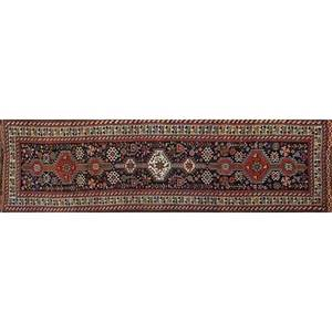 Persian qashqai handknotted wool runner vegetal pattern with roosters and birds iran ca 1940 unmarked 12 6 x 3 10