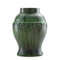 Wheatley vase with stylized leaves cincinnati oh ca 1905 obscured mark 11 14 x 8