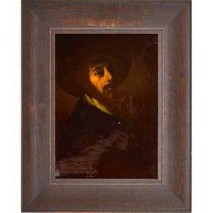 Sturgis laurence 1870  1961 rookwood standard glazed portrait plaque cincinnati oh 1898 framed flame markx234x signature and date to front plaque only 16 x 12 provenance sold by t