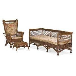 Arts  crafts wicker threepieces usa ca 1905 evenarm settle wingback armchair and footstool unmarked settle 31 x 74 x 27 12 chair 45 x 34 x 29
