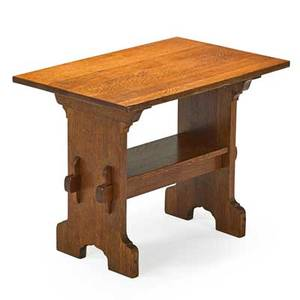 Gustav stickley bungalow trestle table eastwood ny ca 1901 unmarked 28 14 x 36 x 23 12
