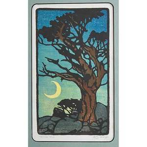 William rice 1873  1963 color woodblock print on handmade paper witch tree california framed and matted pencil signed and titled image 8 12 x 4 34