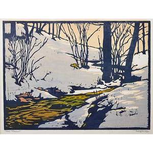 William rice 1873  1963 color woodblock print on handmade paper the thaw california matted pencil signed and titled image 8 34 x 12
