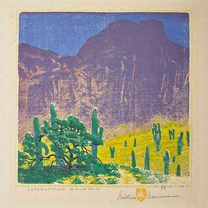 Gustave baumann 1881  1971 color woodblock print superstition mountain santa fe nm 1949 matted pencil signed titled and numbered i38125 with chop mark image 8 x 8 provenance
