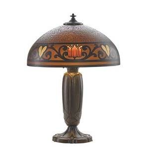 Bradley  hubbard fine table lamp its chipped glass shade obversepainted with strong arts  crafts pattern meriden ct ca 1910 patinated metal acidetched and painted glass three sockets