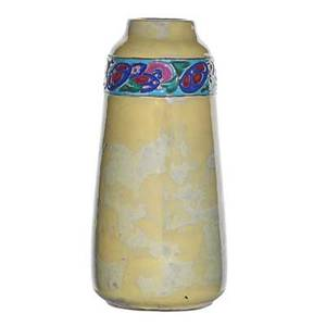 California faience rare glazed earthenware vase with floral decoration berkeley ca 1920s stamped california faience 8 x 4 provenance sold by the los angeles county museum of art to benefit