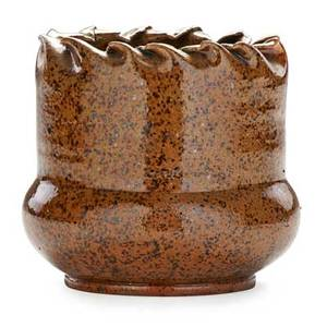 George ohr 1857  1918 vase with ruffled rim ochre and brown speckled glaze biloxi ms 18971900 stamped ge ohr biloxi miss 3 12 x 3 34