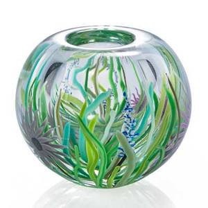 David huchthausen b 1951 paperweight glass vase with flowers usa 1980 signed and dated 4 34 x 5