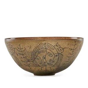 Edwin scheier 1910  2008 mary scheier 1908  2007 large early glazed ceramic bowl with figures incised scheier 5 14 x 11 14