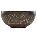 Edwin scheier 1910  2008 mary scheier 1908  2007 large early glazed ceramic bowl with fish and figures incised scheier 5 34 x 12 34