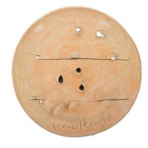 Peter voulkos 1924  2002 large unglazed ceramic charger with incisions and applied elements usa 1975 signed voulkos 75 4 x 20