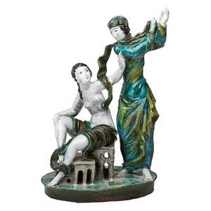 Lotte calm attr wiener werkstatte glazed earthenware sculpture divine and earthly love austria 1920s stamped ww made in austria 979 13 x 8 literature brbel hamacher ed expressiv