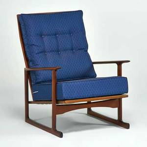 Selig tallback lounge chair denmark 1960s sculpted teak upholstery manufacturer metal label 35 x 29 x 34