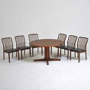 Svend madsen dining set extension dining table and six sidechairs denmark 1960s stained wood vinyl chairs ink stamped chairs 33 x 19 x 21 table 29 x 48 dia two leaves 20