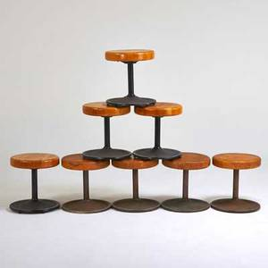 Ilmari tapiovaara attr set of eight caribe stools usa 1970s enameled steel laminated solid maple unmarked 19 x 17 12 dia
