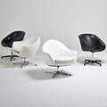 Overman etc two swivel lounge chairs together with two swivel armchairs sweden and usa 1970s vinyl chromed steel polished aluminum overman chairs marked overman 30 x 30 x 27