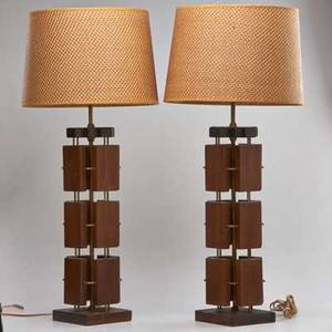 Danish style pair of walnut and brass table lamps with woven shades 20th c unmarked 33 x 15