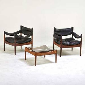 Kristian vedel soren willadsen pair of modus lounge chairs and side table denmark 1960s rosewood leather glass unmarked chair 26 x 28 12 x 24