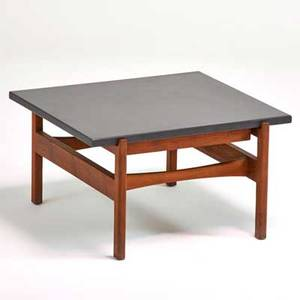Jens risom jens risom designs inc side table walnut slate 15 14 x 25 12 x 27